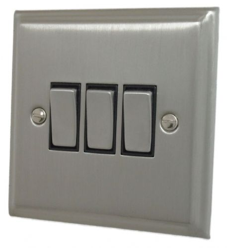 G&H DSN303 Deco Plate Satin Nickel 3 Gang 1 or 2 Way Rocker Light Switch